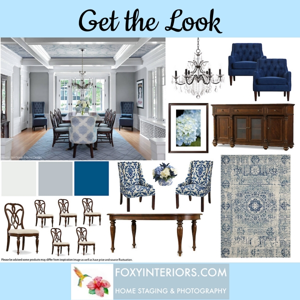 transitional blue dining room